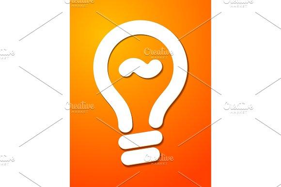 White Cut Lightbulb Symbol