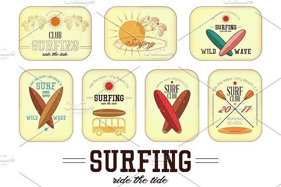 Retro Surfing Labels