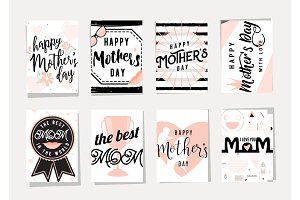 Vector illustration of card set for happy mothers day holiday greeting