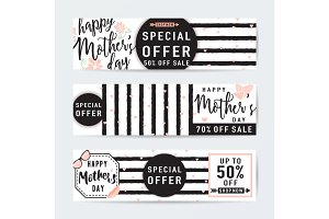 Vector illustration of horizontal banner set for mothers day sale