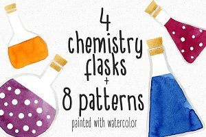 Watercolor Chemistry Flasks