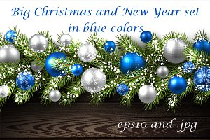 Big blue Christmas and New Year set