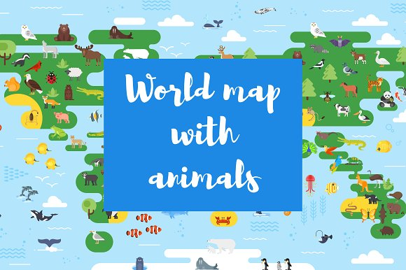 Flat World Map With Animals For Kids