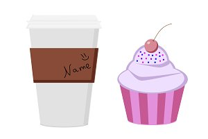 Coffee cup with cupcake vector img