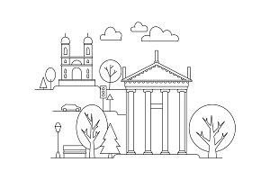 Vector city illustration in linear style - buildings and clouds - graphic design template. Coloring book