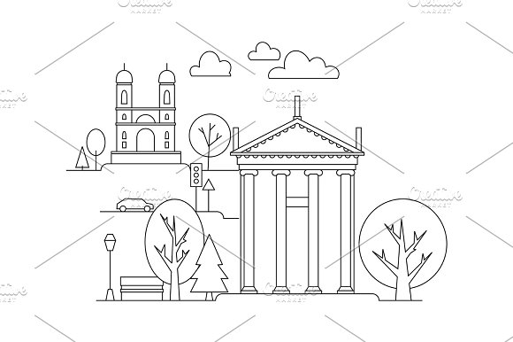 Vector City Illustration In Linear Style Buildings And Clouds Graphic Design Template Coloring Book