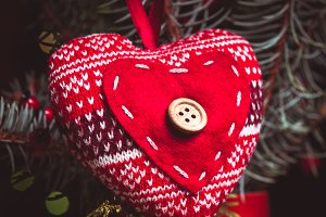 Handmade knitted heart