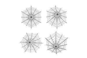 Vector illustration of spider web silhouette set for halloween