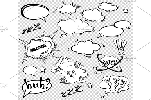 Big Set Of Cartoon Comic Speech Bubbles Empty Dialog Clouds In Pop Art Style Vector Illustration For Comics Book Social Media Banners Promotional Material