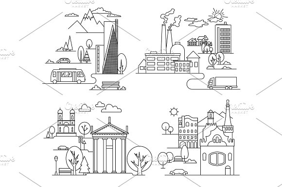 City Design Elements Linear Style Vector Illustration
