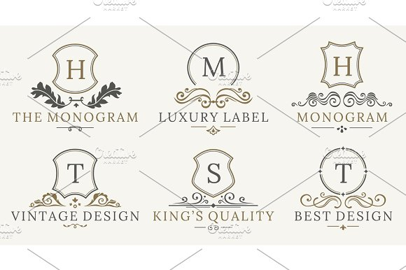 Retro Royal Vintage Shields Logotype Set Vector Calligraphyc Luxury Logo Design Elements Business Signs Logos Identity Spa Hotels Badges