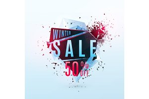 Vector illustration of winter sale poster template