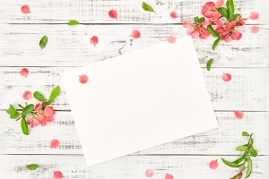 Flat lay paper sheet pink flowers