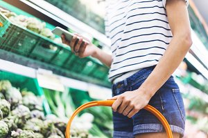 Young woman shopping healthy food