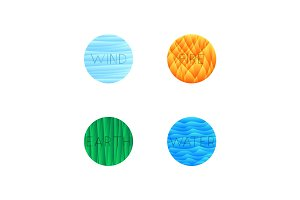 Vector illustration of four elements isolated into round shape