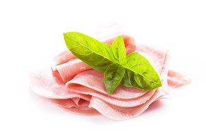 Ham slices isolated