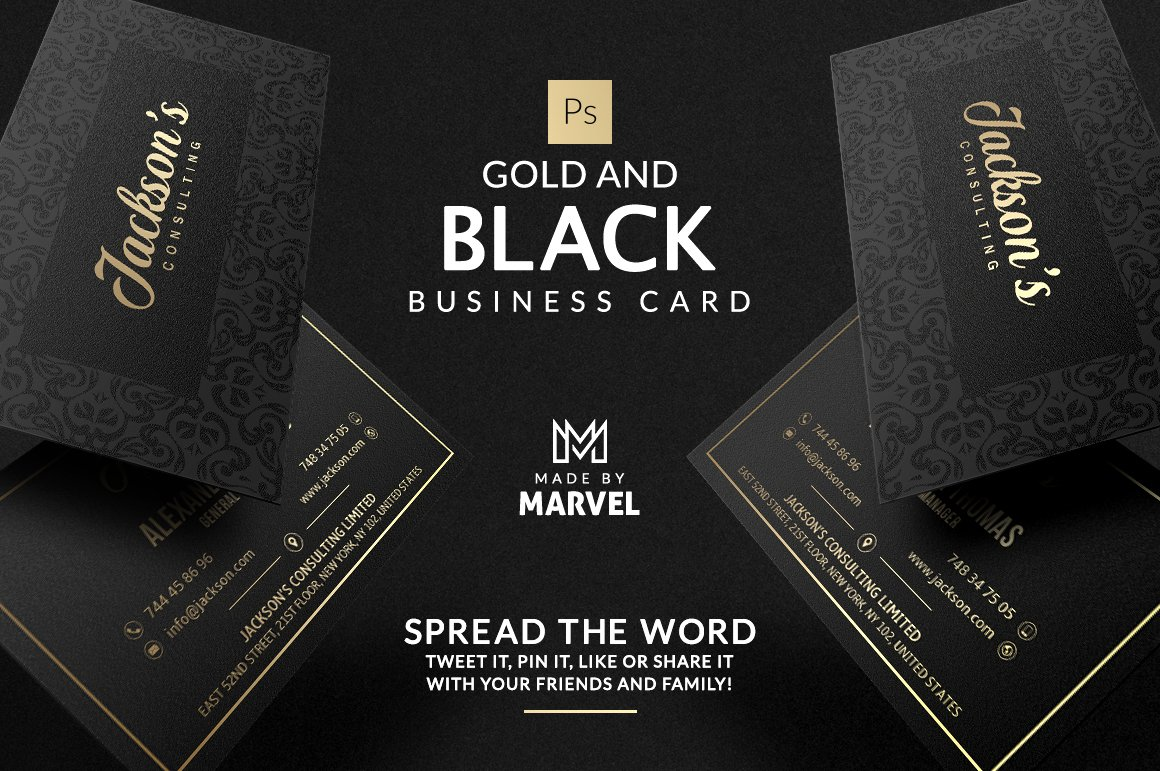 Gold and black business card business card templates creative market gold and black business card fbccfo Image collections