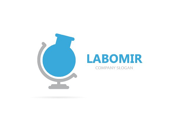 Vector of flask and globe logo combination. Laboratory and planet symbol or icon. Unique ball and bottle logotype design template.