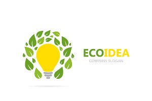 Vector of lamp and leaf logo combination. Idea and eco symbol or icon. Unique organic and light bulb logotype design template.