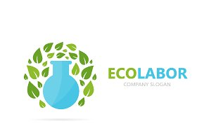 Vector of flask and leaf logo combination. Laboratory and eco symbol or icon. Unique organic and bottle logotype design template.