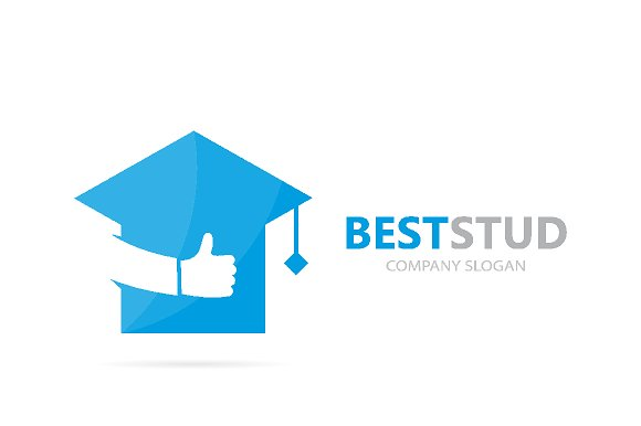 vector of graduate hat and like logo combination study and best