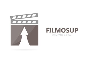 Vector of clapperboard and arrow up logo combination. Cinema and growth symbol or icon. Unique video and film logotype design template.