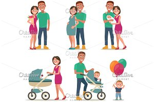 Stages of creating family. Love, pregnancy, birth. Couple and child.