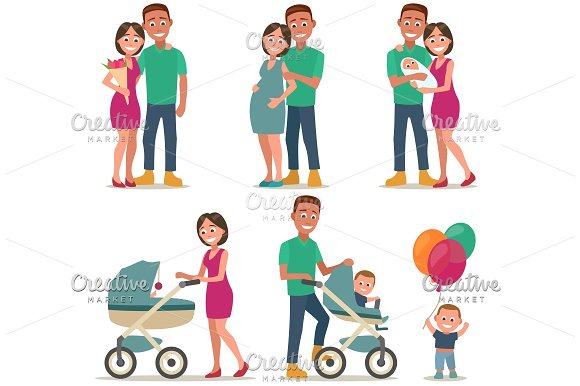 Stages Of Creating Family Love Pregnancy Birth Couple And Child