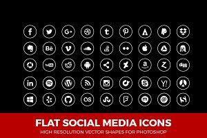 Social Media Icons Circle Line White
