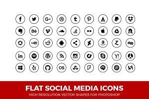 Social Media Icons Circle Line Blk