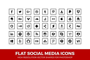 Social Media Icons Squared Line Blk