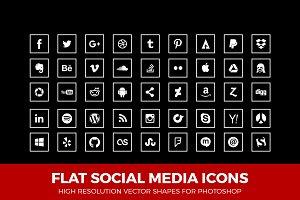 Social Media Icons Squared Line Wht