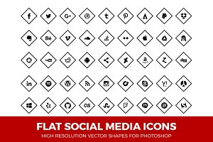 Social Media Icons Diamond Line Blk