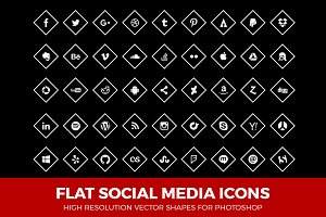Social Media Icons Diamond White