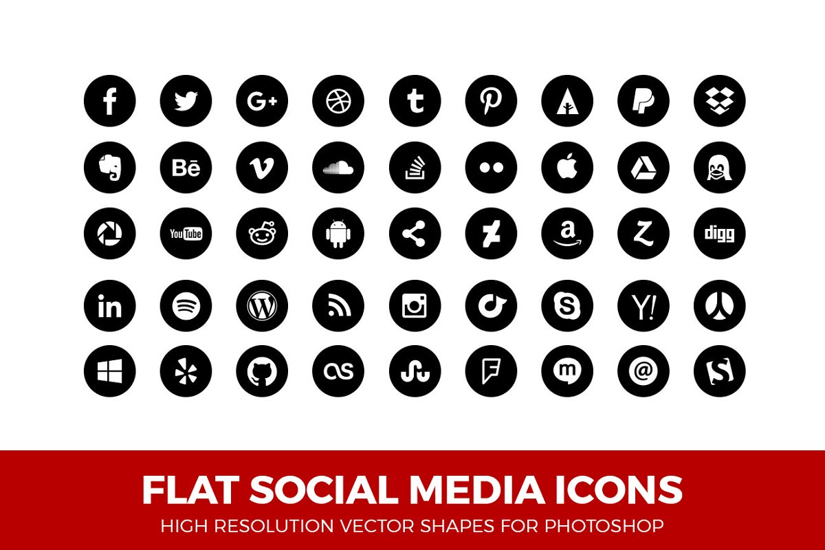 a6da5ecee Simple Social Media Icons Circle ~ Icons ~ Creative Market