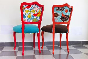 Two Vintage Chairs in Red and Orange
