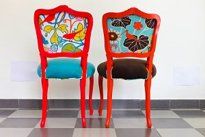 Two Chairs in Red and Orange
