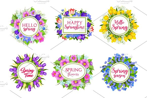 Vector Flowers Bouquets For Hello Spring Quotes
