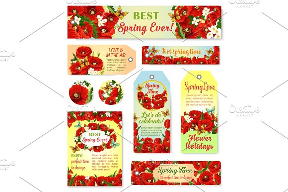 Vector Spring Time Flowers Greeting Cards And Tags
