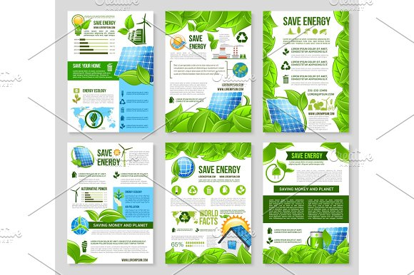 Save Energy Poster Template For Ecology Design