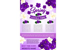 Hello Spring floral poster template design