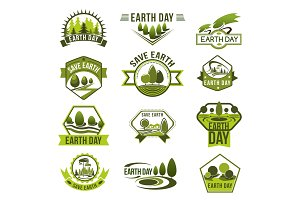 Eco green badge set for Earth Day design