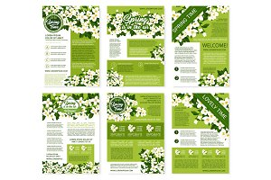 Spring vector posters or brochures flowers bunches