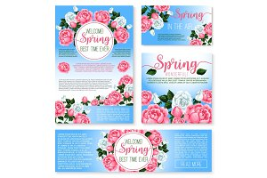 Vector templates set for spring time greetings