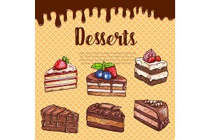 Vector waffle poster with dessert cakes and pies