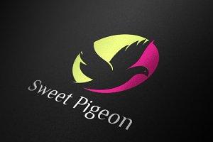 Sweet Pigeon Bird in Peace Logo