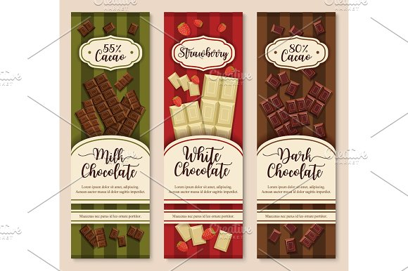 Vector Banners Or Chocolate Dessert Package Design