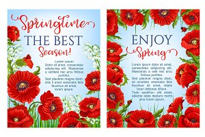 Vector spring time flowers on greeting posters