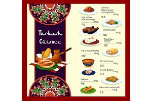 Vector menu template of Turkish cuisine restaurant