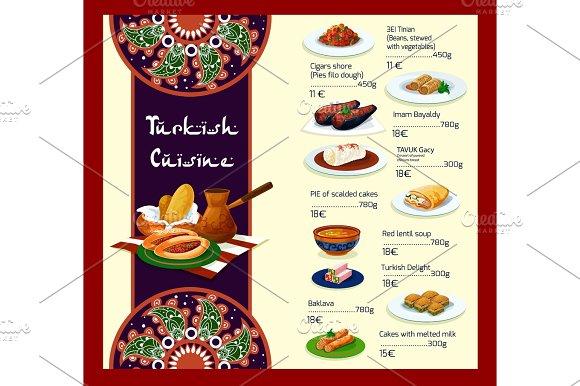 Vector Menu Template Of Turkish Cuisine Restaurant